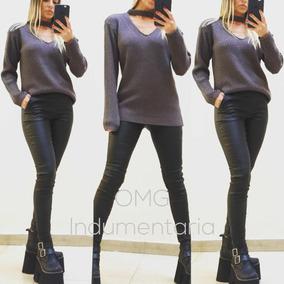 Sweater Saco Abrigo Mujer Tejido Lana Con Choker