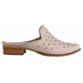 Zuecos Mujer Cuero Tachas Taco De Madera Moda Tops Zapatos