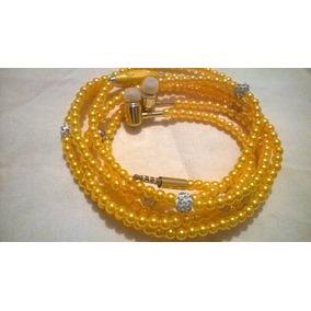 Audifonos Manos Libres Collar De Perlas Amarillos
