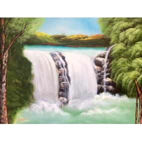 Pintura Paisaje Natural, Cascada, Óleo Sobre Tela