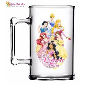 50 Canecas De Acrílica Personalizadas 300ml Princesas Disney