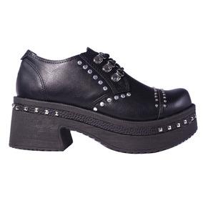 Zapatos Mujer Cuero Eco Tachas Plataforma Acordonados Tops