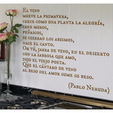 Hermoso Poema Pablo Neruda En Adhesivo Vinilo Decorativo