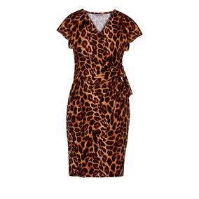 Vestido 05031 Leopardo Animal Print Moda Naci Tallas Extras