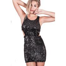 Vestido Corto Con Lentejuelas Negro Noche Mujer Basilotta