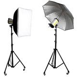 Kit Iluminacion De Estudio 2 Flash+2 Trip+octo90 +1 Paraguas