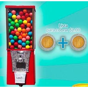 Maquina Chiclera $2 Pesos + Pedestal + Chicle Bola Grande