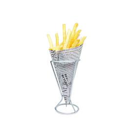 Kit Com 10 Suportes Cone Para Servir Batata Frita E Petiscos