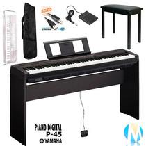 Kit Piano Digital Yamaha P45 Estante Madeira Original L85