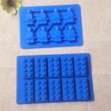 Kit Com 2 Formas Silicone Lego Molde Gelo Chocolate Sabonete