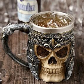 Caneca Caveira Viking Copo Choop Cerveja Crânio Rock Festa