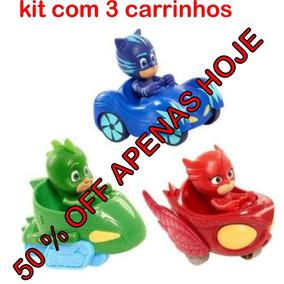 Kit Com 3 Carrinhos Pj Masks 10 Cm