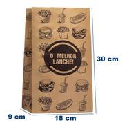 Saco Papel Kraft- M -18x30-impresso Genérico Fast Food 100 U