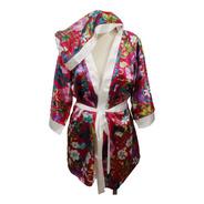 Robe De Cetim Com Capuz  Floral Pronta Entrega T44 Gg