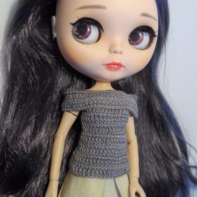 Blusa Cinza Crochê Bonecas Blythe,pullip,dal E Icy