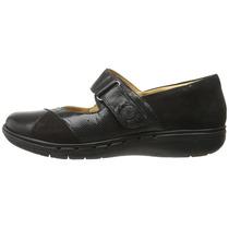 Zapato Mujer Clarks Un Swan Negro Planos Gamuza Cuero Natur