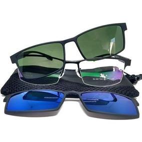 Armação De Óculos Clip On 3 Em 1 Em Metal - Solar Polarizado 44882be893
