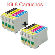 Kit 8 Cartuchos Compatível Epson Impressora Stylus Tx123