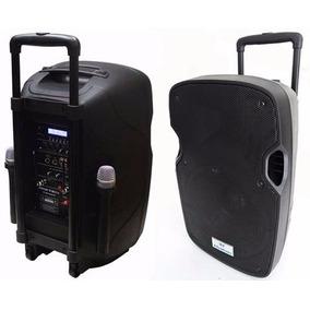 Caixa De Som Amplificada Portátil Bluetooth C/ Microfone Prt