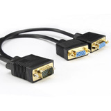 Gold-plated Vga 15 Pines Macho A 2 Monitores De Video Mujer