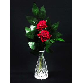 Arranjo Rosas Artificiais Vasos Flores Artificial Com Vidro