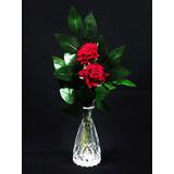 Vaso Vidro E Rosas Artificiais Vermelhas - Flores Artificial