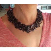 Hermoso Collar Negro Brillante Fiesta Elegante Envio Gratis