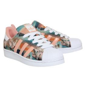 adidas Superstar De Dama Colores-verde/salmon/naranja/flores