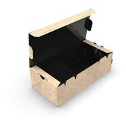 100 Cajas Rectas (18x9x5,5cm) Sushi Negras Compostables