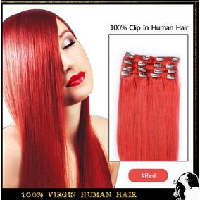 Mega Hair Cabelo 100% Humano Com Tic Tac 8 Peças Vermelho
