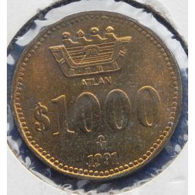 Moneda Mexico 1000 Pesos 1991 Autlan Prueba S/ Circ Bronce