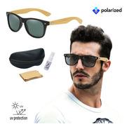 Óculos De Sol Masculino Bambú Preto Polarizado + Brindes
