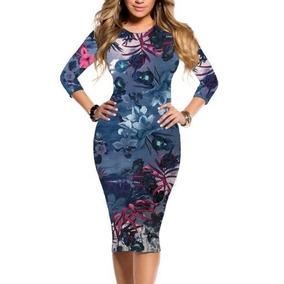 Moda Jovial Vestido Elegante Feminino Tubinho Midi Floral