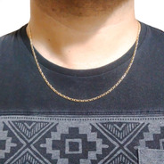 Corrente Masculino Cordão 1x1 60cm 2 Mm Banhado A Ouro 18k