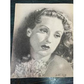 Hermoso Dibujo Antiguo Al Grafito Dama De Antonio Hdz 1942