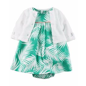 Roupas De Bebe Conjunto Carters 2 Peças Vestido Verde Floral