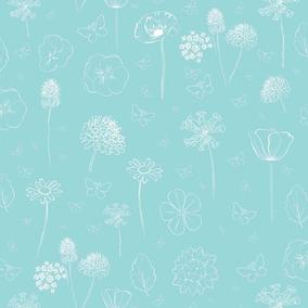 empapelado muresco aroma flores aqua verde celeste