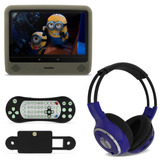 Tela Monitor Portátil Lcd 9 Dvd Usb Sd + Fone Ouvido S/ Fio