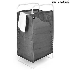 Cesto De Roupa De Aço Inox Cinch Laundry Umbra Preto 75,5 X