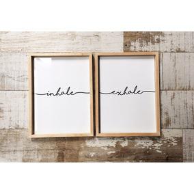 Set Cuadro Box Inhale Exhale 30x40 Diseño Frase Deco Moderno