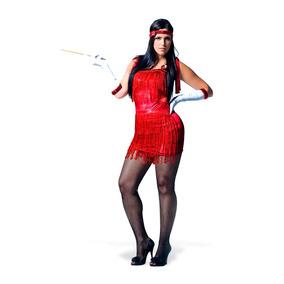Fantasia Melindrosa Franja Vermelha Adulto - Heat Girls