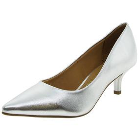 Sapato Feminino Salto Baixo Prata Vizzano - 1122600