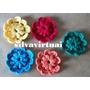 Kit C/ 06 Flores De Croche P/ Blusas Cachecol Tic Tac Bolsa