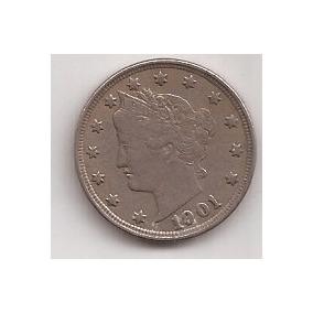 Eeuu Antigua Moneda De 5 Cents Año 1901