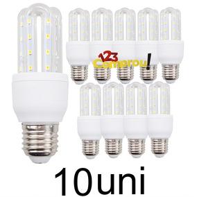 10 Lâmpada Super Led 7w 3u Branco Quente Casa Escritório