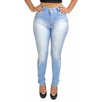 Kit 2 Unidade Calça Jeans Feminina Lycra Cos Alto Hot Pants