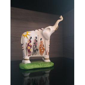Elefante Africano De Gesso Pintado À Mão