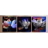 Promoção Quadro Decorativo Trio De Telas Flores Coloridas 83