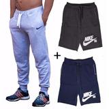 Kit 1 Calça Moleton Nike + 2 Bermuda Shorts Nike Com Bolsos