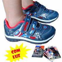 Tênis Infantil Capitão América Velcro Acende Pisca Luz